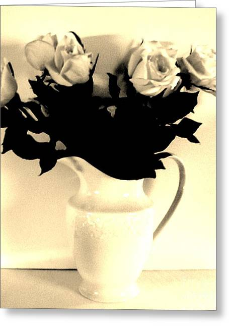 Pitcher Roses In Sepia Greeting Card by Marsha Heiken