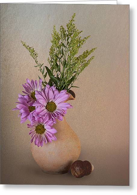 Pitcher With Daisies Greeting Card by Tom Mc Nemar