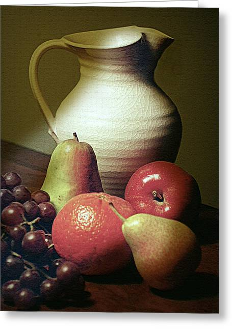 Pitcher With Fruit Greeting Card by Diana Angstadt