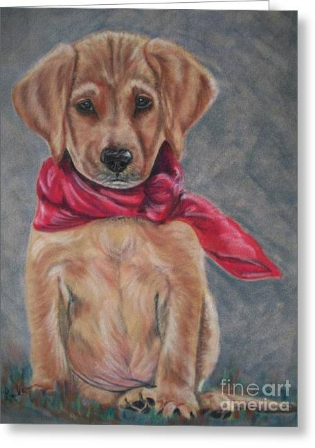 Puppies Pastels Greeting Cards - Pitiful Greeting Card by Linda Eversole