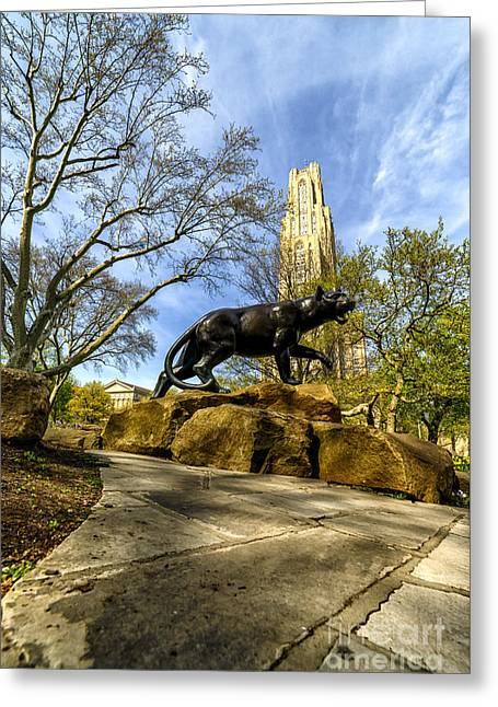 Pitt Panther Cathedral Of Learning Greeting Card by Thomas R Fletcher