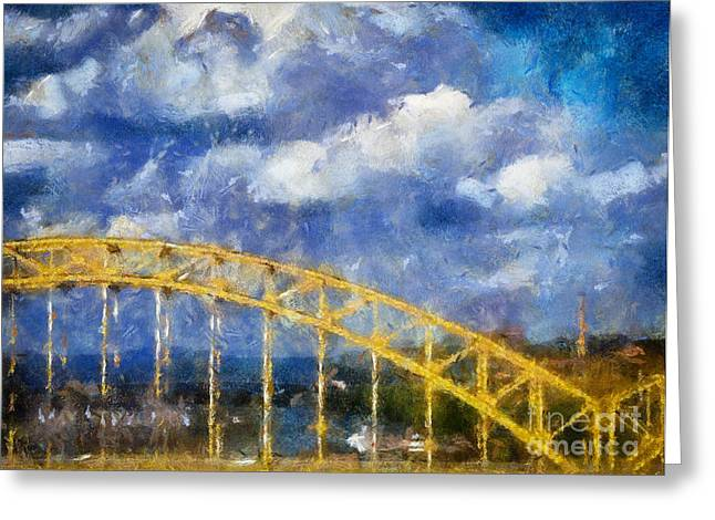 Pittsburgh Artwork. Greeting Cards - Pittsburgh 16th Street Bridge Greeting Card by Amy Cicconi