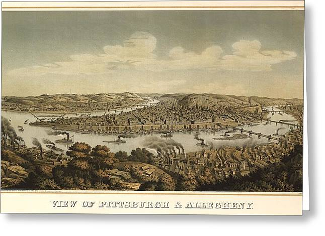 Pittsburgh 1874 Greeting Card by Mountain Dreams