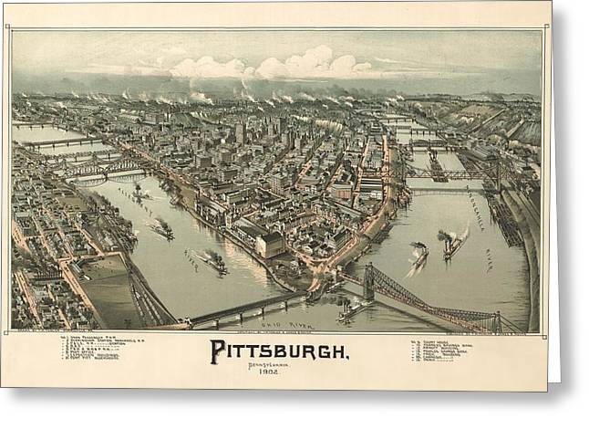 Pittsburgh 1902 Greeting Card by Mountain Dreams