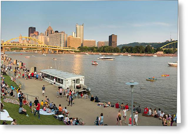 Pittsburgh Skyline.fireworks Greeting Cards - Pittsburgh 4th  Greeting Card by Emmanuel Panagiotakis