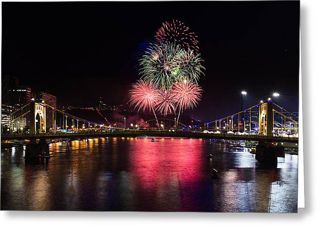 Pittsburgh Skyline.fireworks Greeting Cards - Pittsburgh 4th Fireworks  Greeting Card by Emmanuel Panagiotakis