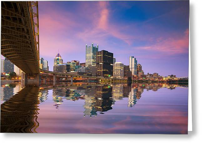Pnc Park Greeting Cards - Pittsburgh  Blue Hour  Greeting Card by Emmanuel Panagiotakis