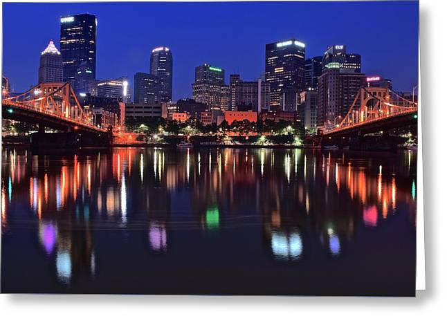 Incline Greeting Cards - Pittsburgh Blue Hour Lights Greeting Card by Frozen in Time Fine Art Photography
