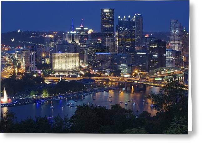 Pittsburgh Blue Hour Panoramic Greeting Card by Frozen in Time Fine Art Photography
