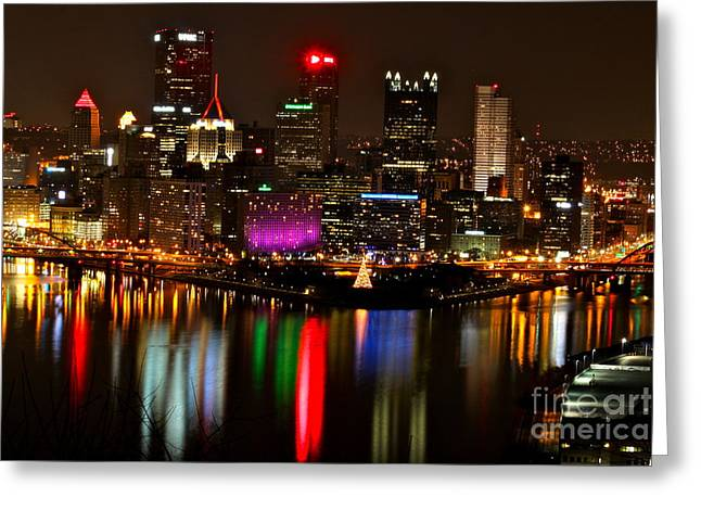 Jay Nodianos Greeting Cards - Pittsburgh Christmas at night Greeting Card by Jay Nodianos
