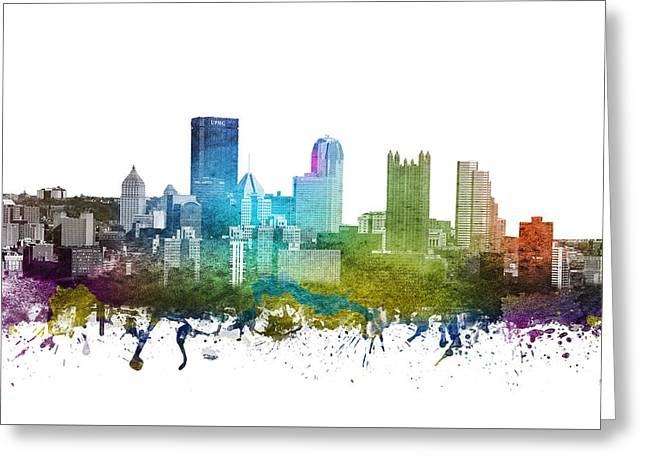 Pittsburgh Drawings Greeting Cards - Pittsburgh cityscape 01 Greeting Card by Aged Pixel
