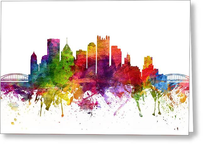 Pittsburgh Digital Greeting Cards - Pittsburgh Cityscape 06 Greeting Card by Aged Pixel