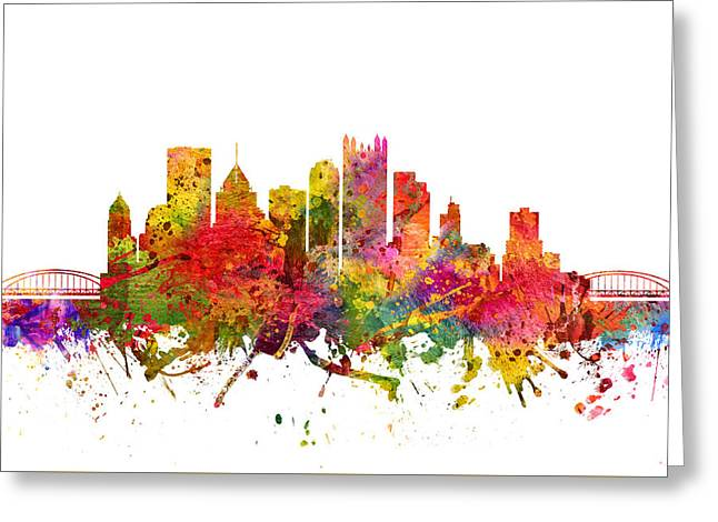 Pittsburgh Digital Greeting Cards - Pittsburgh Cityscape 08 Greeting Card by Aged Pixel