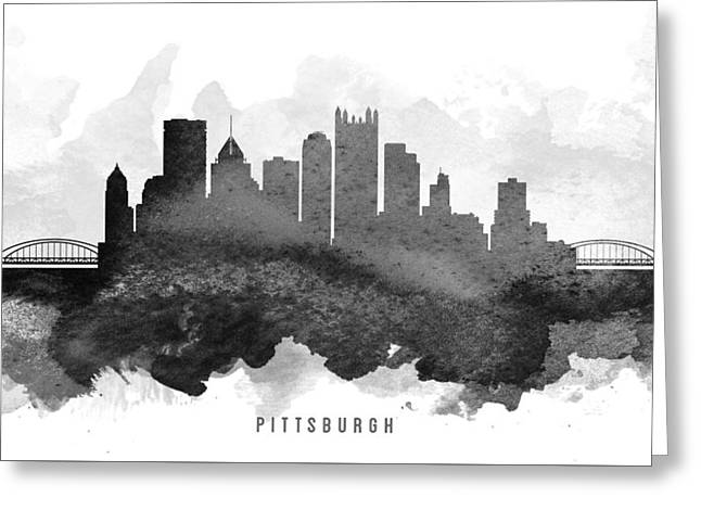 Pittsburgh Digital Greeting Cards - Pittsburgh Cityscape 11 Greeting Card by Aged Pixel
