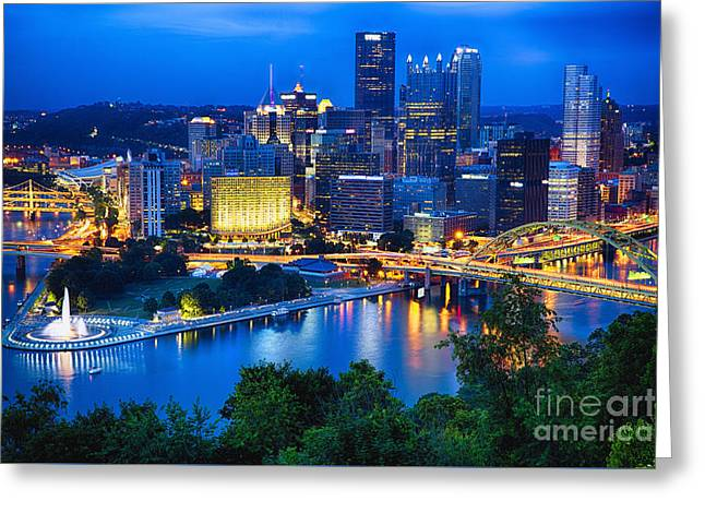 Allegheny Greeting Cards - Pittsburgh Downtown Night Scenic View Greeting Card by George Oze