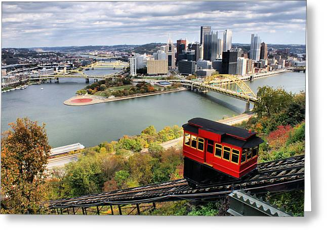 Duquesne Incline Greeting Cards - Pittsburgh from Incline Greeting Card by Michelle Joseph-Long