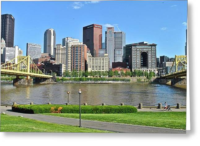 Pittsburgh From Just Outside Pnc Park Greeting Card by Frozen in Time Fine Art Photography