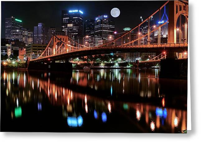 Grandview Greeting Cards - Pittsburgh Full Moon Greeting Card by Frozen in Time Fine Art Photography