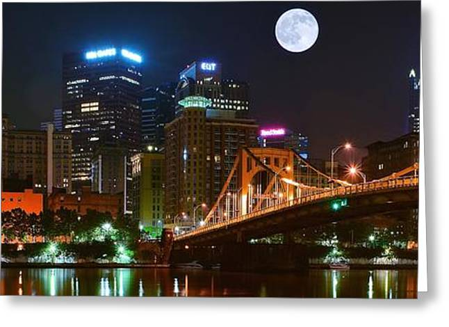 Grandview Greeting Cards - Pittsburgh Full Moon Panoramic Greeting Card by Frozen in Time Fine Art Photography