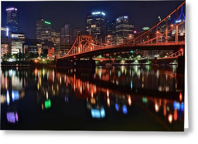 Pittsburgh Lights Greeting Card by Frozen in Time Fine Art Photography