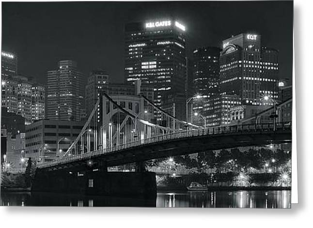 Monongahela Duquesne Incline Greeting Cards - Pittsburgh Lights in Black and White Greeting Card by Frozen in Time Fine Art Photography
