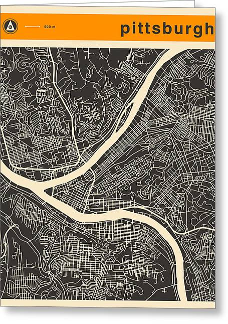 Pittsburgh Digital Greeting Cards - Pittsburgh Map Greeting Card by Jazzberry Blue