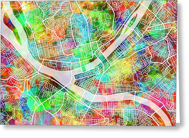 Abstract Map Greeting Cards - Pittsburgh map watercolor 3 Greeting Card by MB Art factory