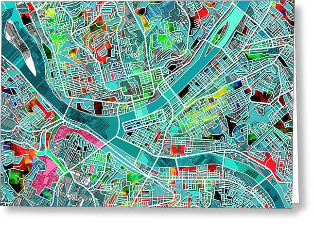 Abstract Map Greeting Cards - Pittsburgh map watercolor 4 Greeting Card by MB Art factory