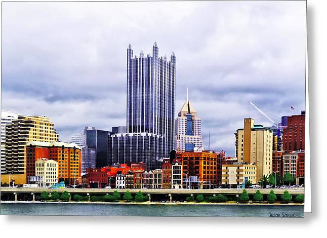 Skyscrapers Greeting Cards - Pittsburgh PA Skyline Greeting Card by Susan Savad