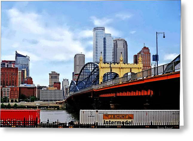 Skyscraper Greeting Cards - Pittsburgh PA - Train By Smithfield St Bridge Greeting Card by Susan Savad