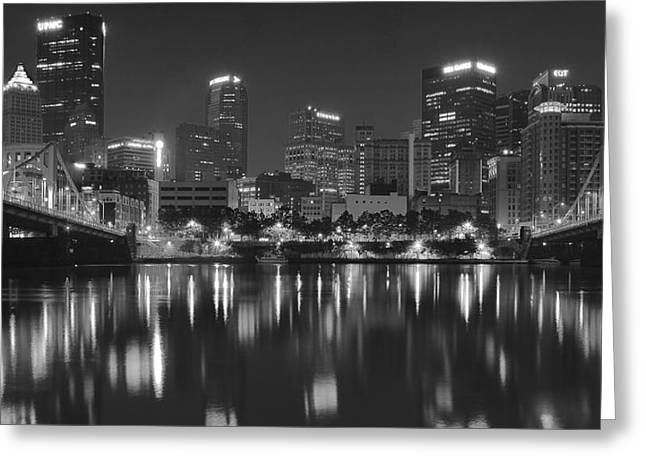 Incline Greeting Cards - Pittsburgh Panoramic Black and White Greeting Card by Frozen in Time Fine Art Photography
