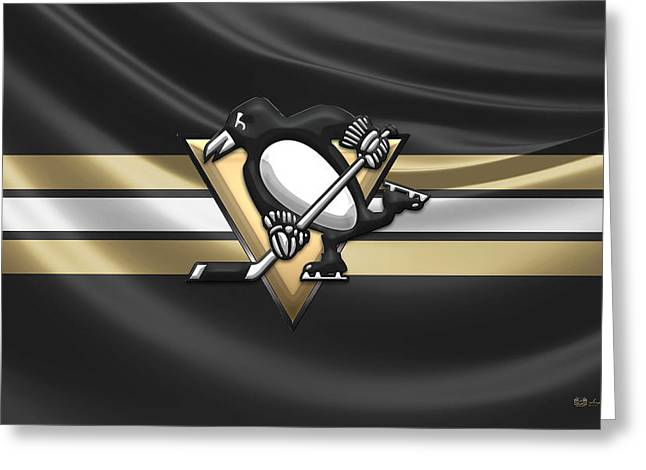 Hockey Memorabilia Greeting Cards - Pittsburgh Penguins - 3D Badge over Silk Flag Greeting Card by Serge Averbukh