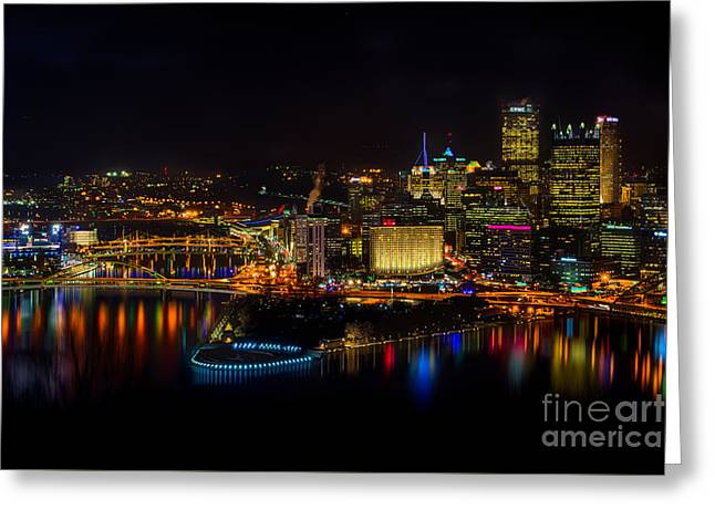 Pittsburgh Pennsylvania City Skyline At Night Greeting Card by Amy Cicconi