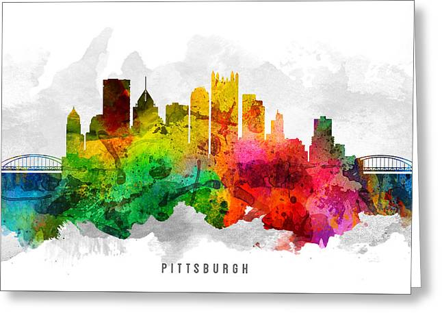 Pittsburgh Digital Greeting Cards - Pittsburgh Pennsylvania Cityscape 12 Greeting Card by Aged Pixel