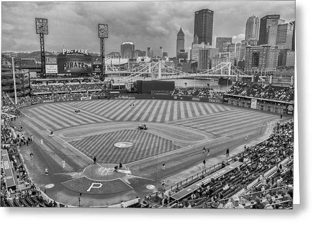Pittsburgh Pirates 1a Bw Pnc Park Greeting Card by David Haskett