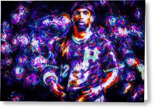 Nba Champs Greeting Cards - Pittsburgh Pirates Andrew McCutchen Digitally Painted Purple MIX Greeting Card by David Haskett