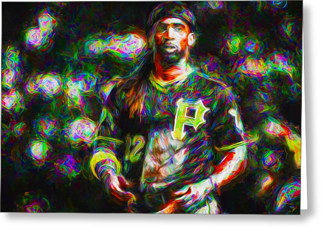 Champs Greeting Cards - Pittsburgh Pirates Andrew McCutchen Painted Greeting Card by David Haskett