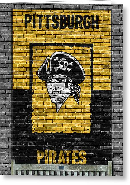 Pittsburgh Pirates Brick Wall Greeting Card by Joe Hamilton