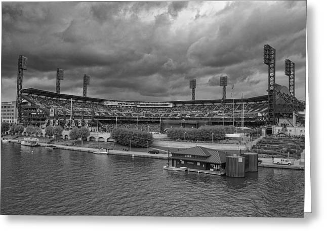 Baseball Photographs Greeting Cards - Pittsburgh Pirates PNC Park BW A Greeting Card by David Haskett