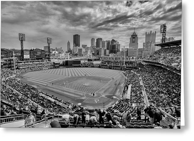 Pittsburgh Pirates Pnc Park Bw X Greeting Card by David Haskett
