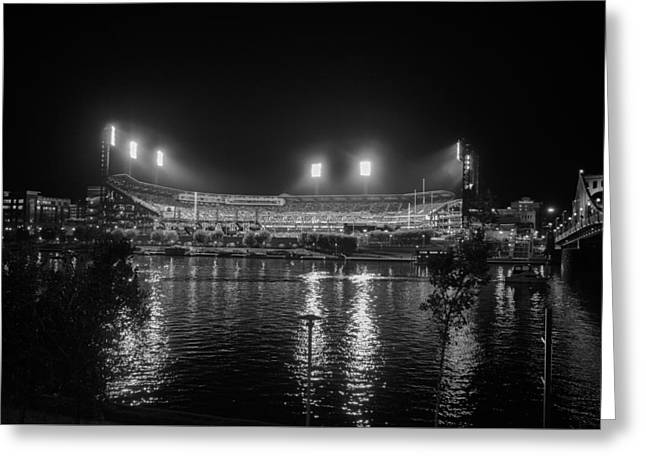 Pittsburgh Pirates Pnc Park Night Bw Greeting Card by David Haskett