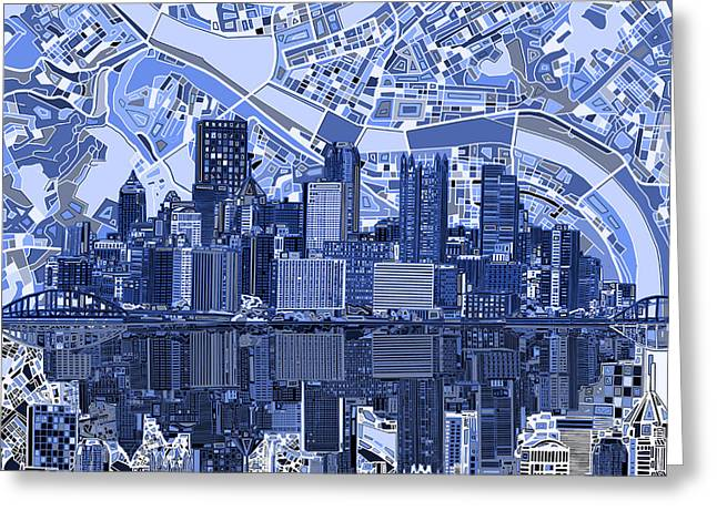 Cathedral Of Learning Greeting Cards - Pittsburgh skyline abstract 4 Greeting Card by MB Art factory