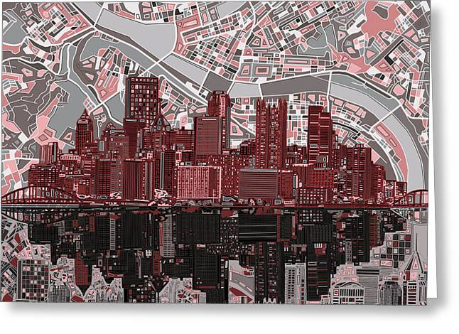 Cathedral Of Learning Greeting Cards - Pittsburgh skyline abstract 5 Greeting Card by MB Art factory
