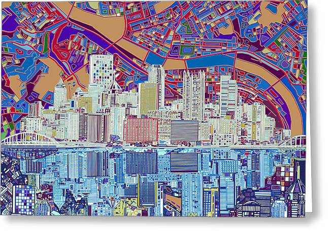 Cathedral Of Learning Greeting Cards - Pittsburgh skyline abstract 6 Greeting Card by MB Art factory