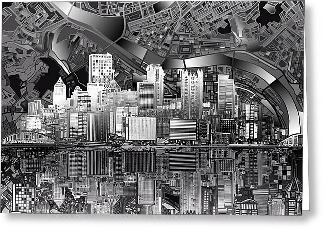 Cathedral Of Learning Greeting Cards - Pittsburgh skyline abstract bw Greeting Card by MB Art factory