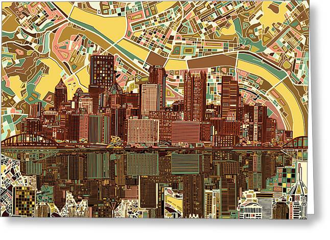 Cathedral Of Learning Greeting Cards - Pittsburgh skyline abstract  Greeting Card by MB Art factory