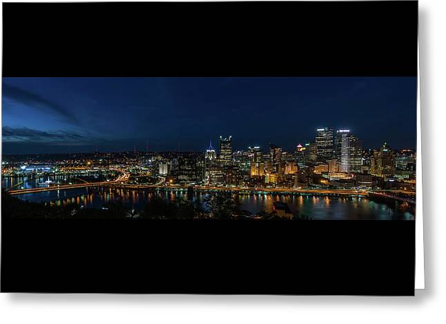 Pittsburgh Skyline At Dusk Panoramic  Greeting Card by Terry DeLuco