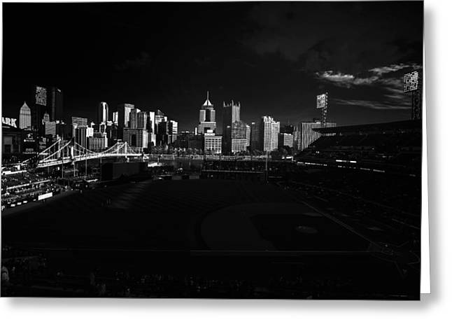 Pirates Greeting Cards - Pittsburgh Skyline PNC Park Pirates Greeting Card by David Haskett