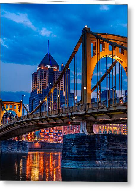 Oranger Greeting Cards - Pittsburgh Skyline Greeting Card by Steven Maxx