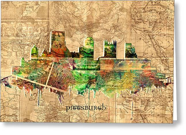 Cathedral Of Learning Greeting Cards - Pittsburgh skyline vintage 2 Greeting Card by MB Art factory